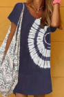 فستان قصير بربطة عنق باللون الأزرق
