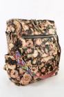 حقيبة ظهر PU سعة كبيرة بطبعة الأزهار