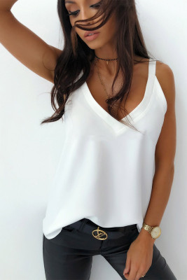 White Strap Sleeveless Casual Basic Tank Top
