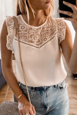 Camiseta sin mangas de crepé con canesú de encaje caqui