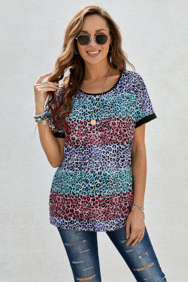 Camiseta de rayas de leopardo multicolor