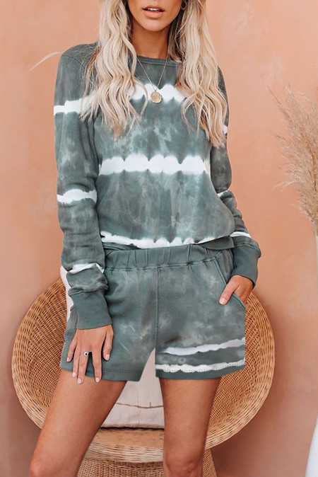 Green Tie-dyed Stripes Long Sleeve Shorts Lounge Set