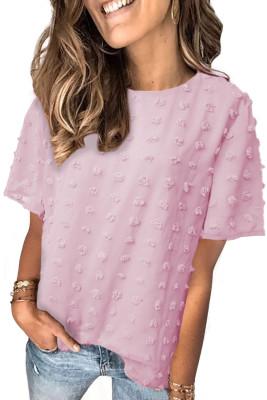 Розовый топ с короткими рукавами и текстурой в горошек