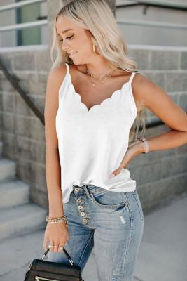 Camiseta sin mangas con borde festoneado blanca