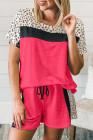 Rose Dotted Print Colorblock Tee Shorts Loungewear
