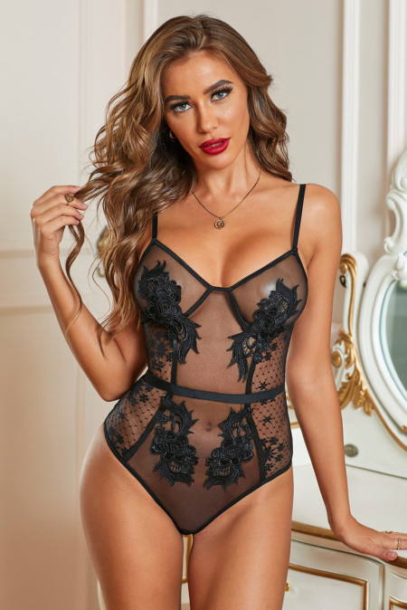 Black Embroidered Dotted Mesh Teddy