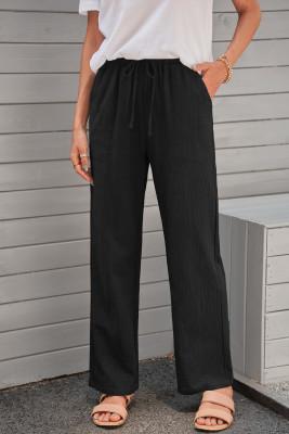 黒の巾着伸縮性ウエストポケットロングストレートレッグパンツ