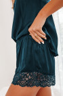 Green Lace Trim Tank Top and Shorts Pajamas Set