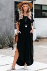 فستان أسود فضفاض من مزيج القطن برقبة على شكل V مع فتحات