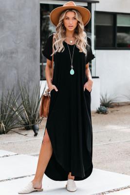 Vestido largo de mezcla de algodón con cuello en V y aberturas en negro
