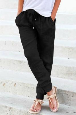 Черные джоггеры на кулиске с карманами