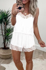 White Lace Trim Tank Top and Shorts Pajamas Set