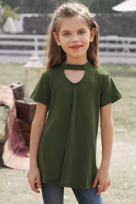 بلوزة بأكمام قصيرة خضراء لفتاة ثقب المفتاح