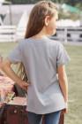 تي شيرت بناتي مخطط باللون الرمادي