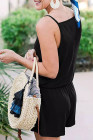 Mameluco negro con cuello en V y cordón con bolsillos