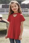 بلوزة بأكمام قصيرة لفتاة ثقب المفتاح أحمر