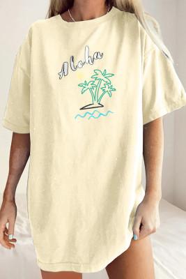 Camiseta Boyfriend extragrande de Aloha By The Beach amarilla