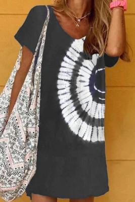 Minivestido teñido anudado con cuello halter negro
