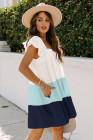 فستان بيبي دول برقبة مربعة ثلاثية الألوان