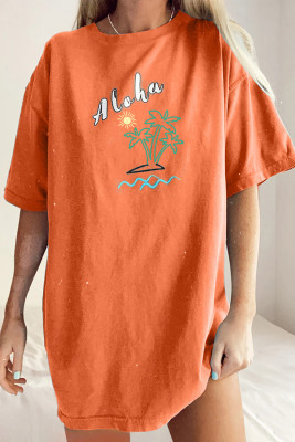 Camiseta estilo boyfriend extragrande de Aloha By The Beach naranja