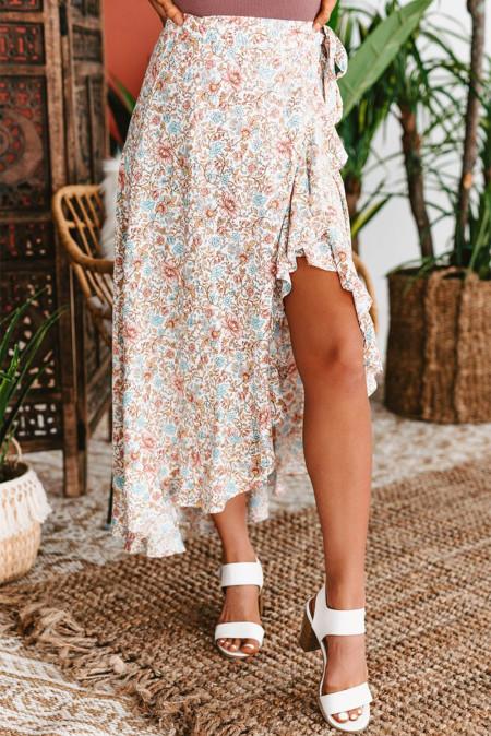 Falda floral con dobladillo con volantes altos y bajos estilo cruzado