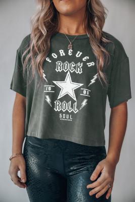 Укороченный топ с рисунком Forever Rock And Roll
