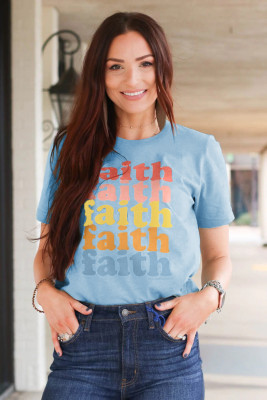 Camiseta azul con estampado Faith