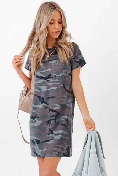 فستان قصير من مزيج القطن بطبعة كامو