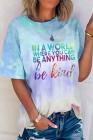 Camiseta con estampado de letras con eslogan y efecto tie-dye