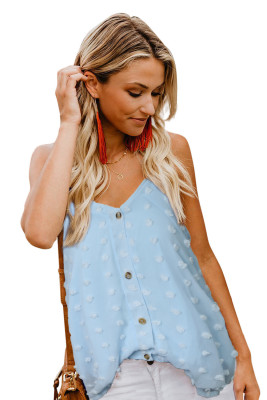 Sky Blue Button Front Swiss Dot Tank