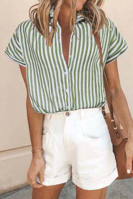 Grüne Kurzarm-Bluse mit geknöpftem Streifenmuster