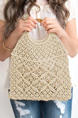 حقيبة يد كروشيه منسوجة بوهيمية بيضاء