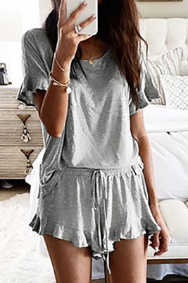 Gray Short Sleeve Drawstring Ruffle Trim Lounge Set