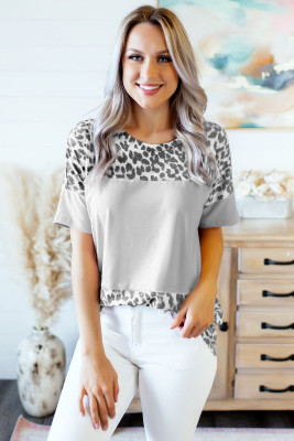 Camiseta gris con estampado de leopardo feroz color block