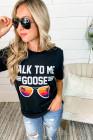 Camiseta estampada TALK ME TO GOOSE negra