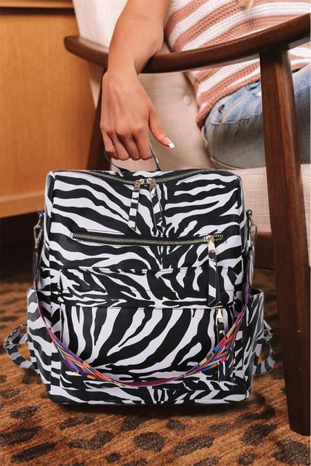 حقيبة ظهر من البولي يوريثان ذات سعة كبيرة مطبوعة على شكل حيوانات