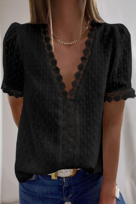 Black Lace Splicing V-Neck Swiss Dot Short Sleeve Top