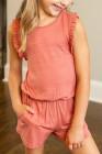 رومبير سلمون للأطفال بدون أكمام مكشكش