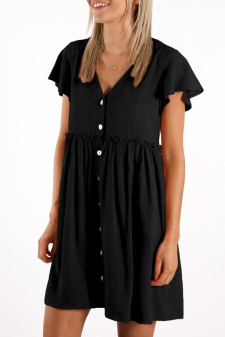 فستان ميني بيبي دول أسود برقبة على شكل V وأزرار بخصر إمبراطورية