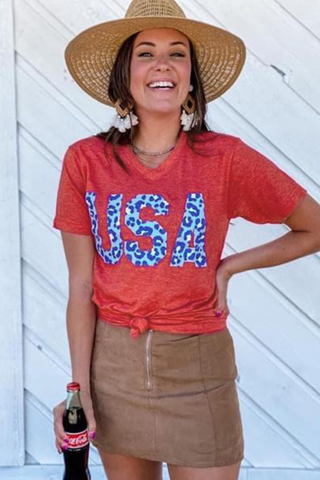 Camiseta con estampado Vintage Washed Cheetah USA