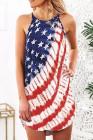 فستان قصير غير متماثل بنجوم العلم الأمريكي