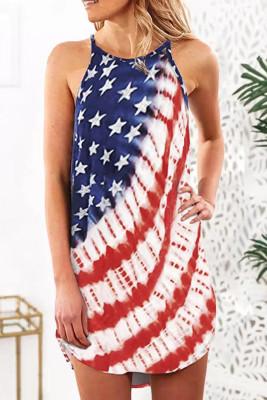 Minivestido asimétrico con cuello halter y rayas de estrellas de la bandera americana