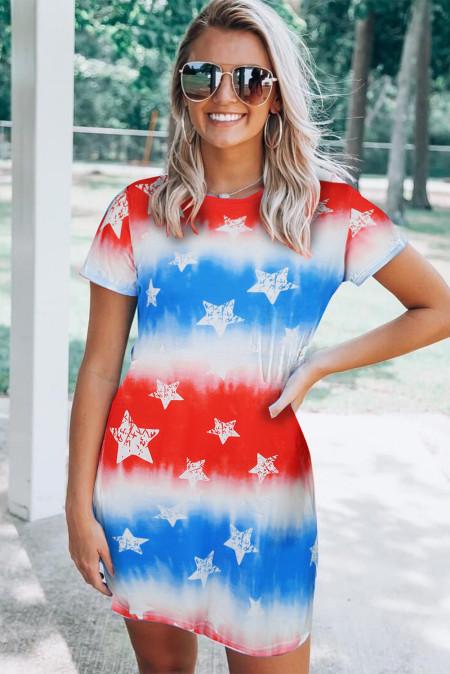 فستان قصير بعلم النجوم باللون الأحمر والأبيض والأزرق بربطة عنق