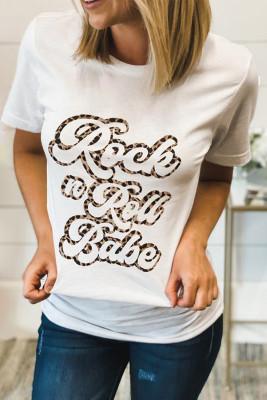 Camiseta con estampado de leopardo de Rock N Roll Babe