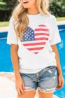 Camiseta blanca con estampado de corazón de bandera americana