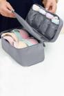 حقيبة تخزين الملابس الداخلية الصدرية المحمولة الرمادية للسفر