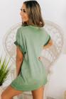 فستان قصير بكم قصير لون أخضر