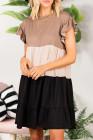كاكي فستان قصير بأكمام قصيرة مكشكش