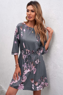 Gray Floral Lounge Tunic Dress