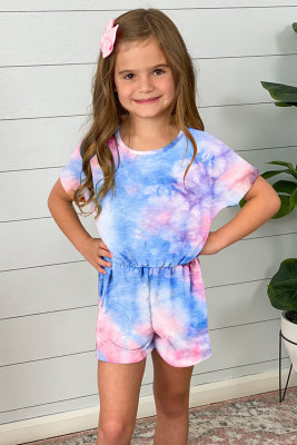 أزرق سماوي التعادل صبغ قصير الأكمام رومبير الفتاة الصغيرة